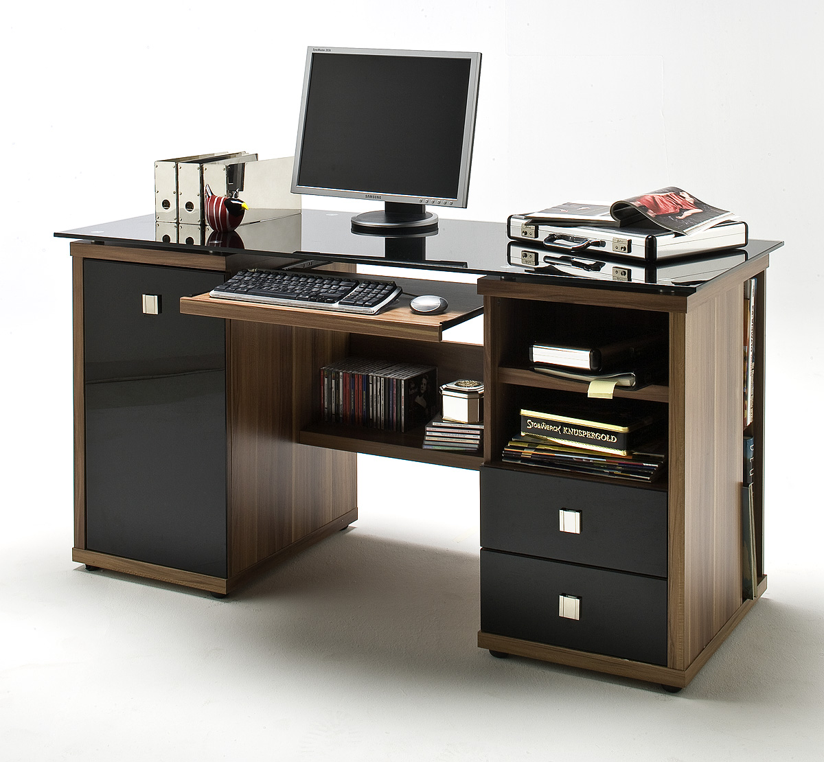 schreibtisch home office walnuss glas schwarz ebay. Black Bedroom Furniture Sets. Home Design Ideas