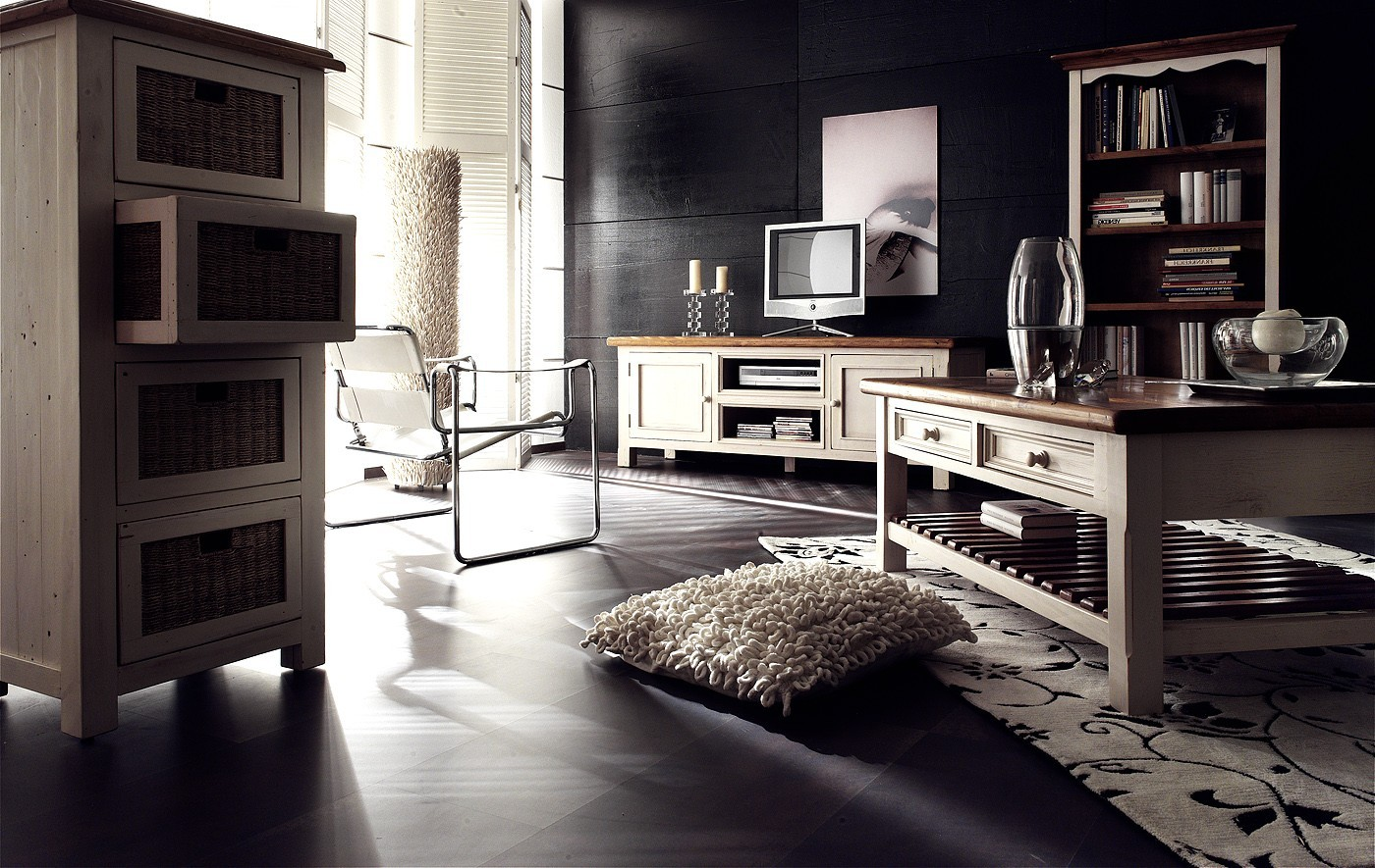 vintage landhaus kommode mit rattank rben bodde m bel g nstig kaufen. Black Bedroom Furniture Sets. Home Design Ideas