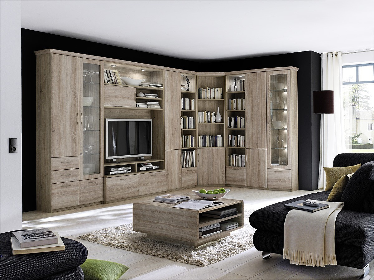 eckwohnwand conwall no 3 barelement sonoma eiche dekor. Black Bedroom Furniture Sets. Home Design Ideas