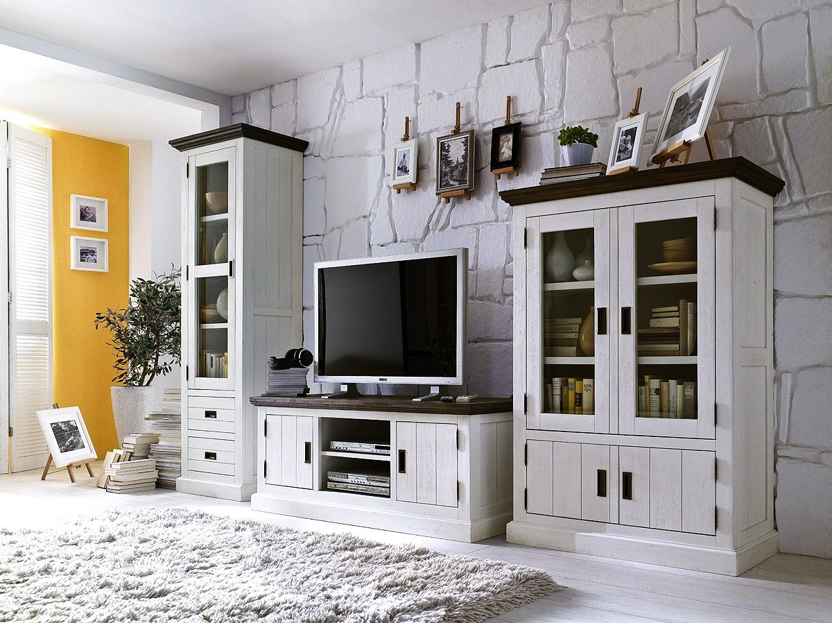 landhausm bel wohnwand gomara massivholz m bel g nstig kaufen bei. Black Bedroom Furniture Sets. Home Design Ideas