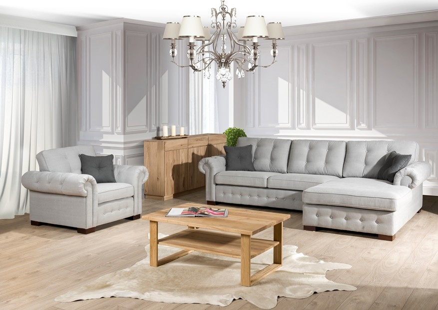 chesterfield sofa mit ottomane stoff primavera. Black Bedroom Furniture Sets. Home Design Ideas