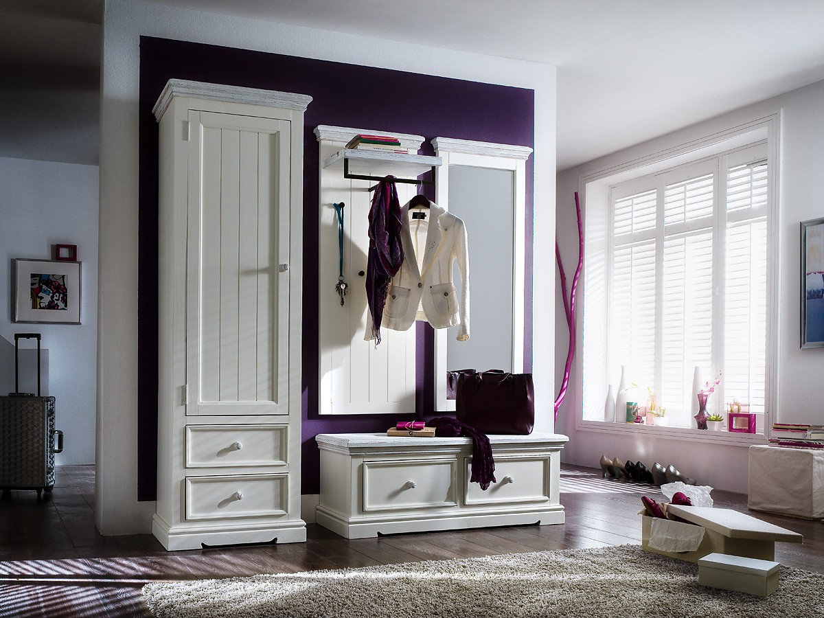 garderobe landhaus opos set no 3 flurm bel wei. Black Bedroom Furniture Sets. Home Design Ideas