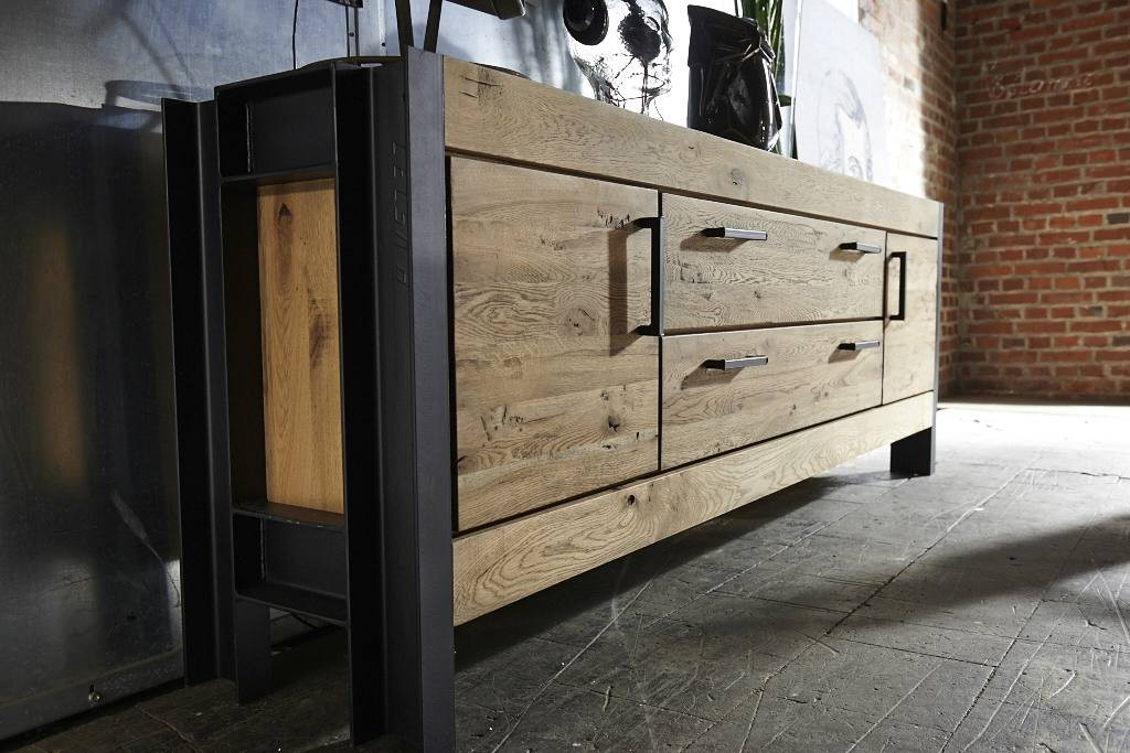 wildeiche kommode massiv stahl bodahl giant. Black Bedroom Furniture Sets. Home Design Ideas