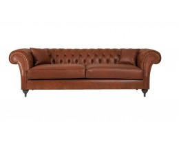 Coastal Homes Jacksonville Chesterfield Sofa Kunstleder Cognac