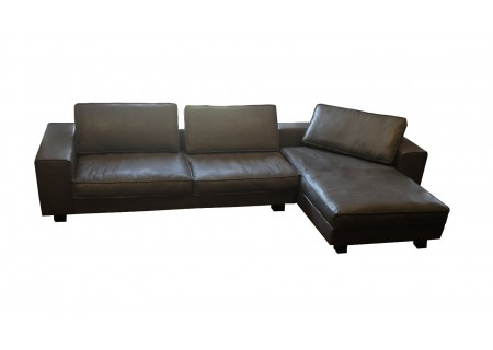 Tommy M Ecksofa Leder Long Beach, 2,5 Sitzer + Longchair re