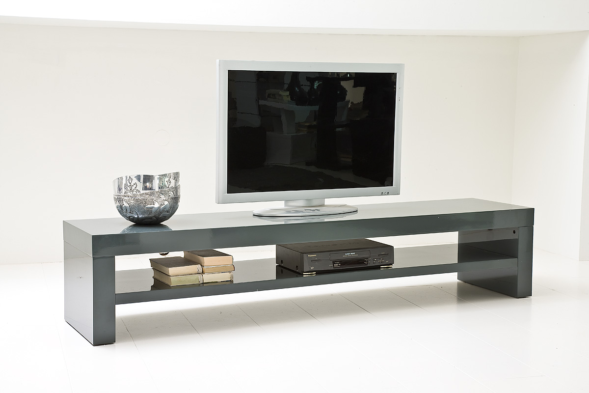 tv lowboard gino ii hochglanz grau 200 x 45 cm ebay. Black Bedroom Furniture Sets. Home Design Ideas