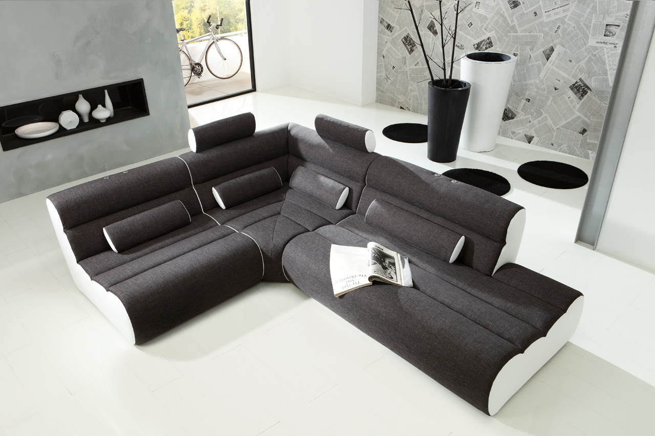 new look elements eckgarnitur couch weiss anthrazit ebay. Black Bedroom Furniture Sets. Home Design Ideas