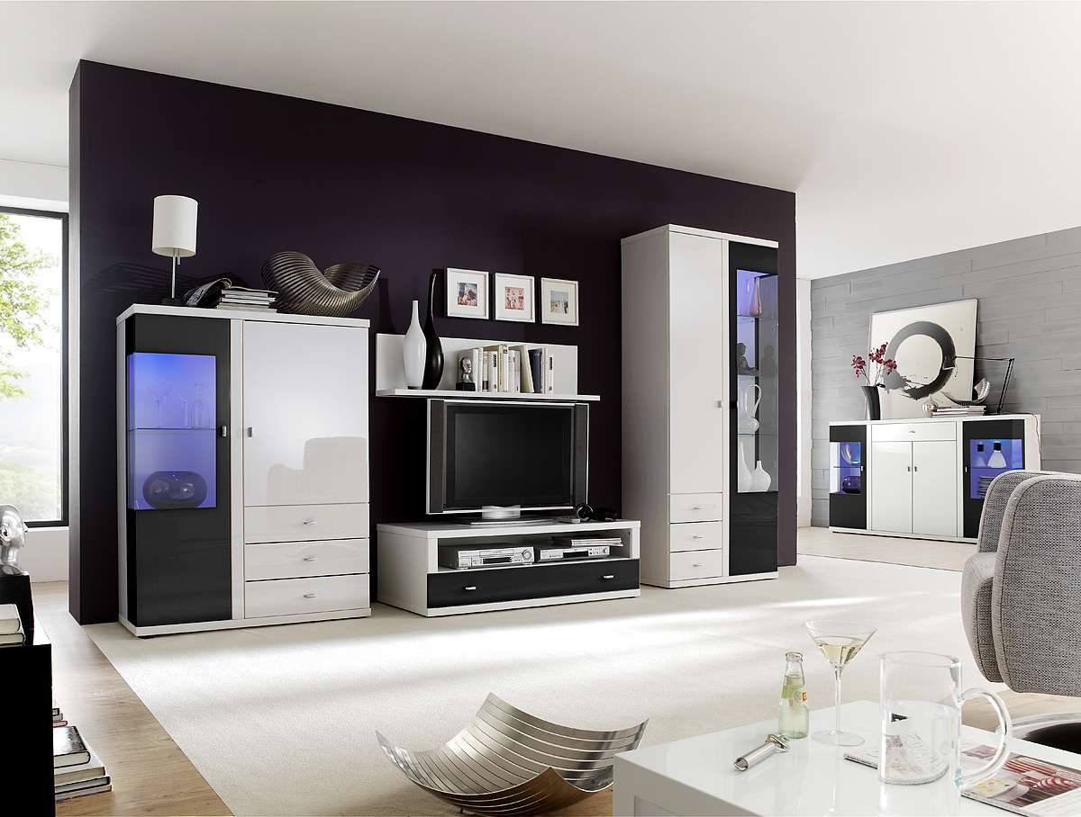 tv wohnwand wohnkombination kana hochglanz weiss. Black Bedroom Furniture Sets. Home Design Ideas