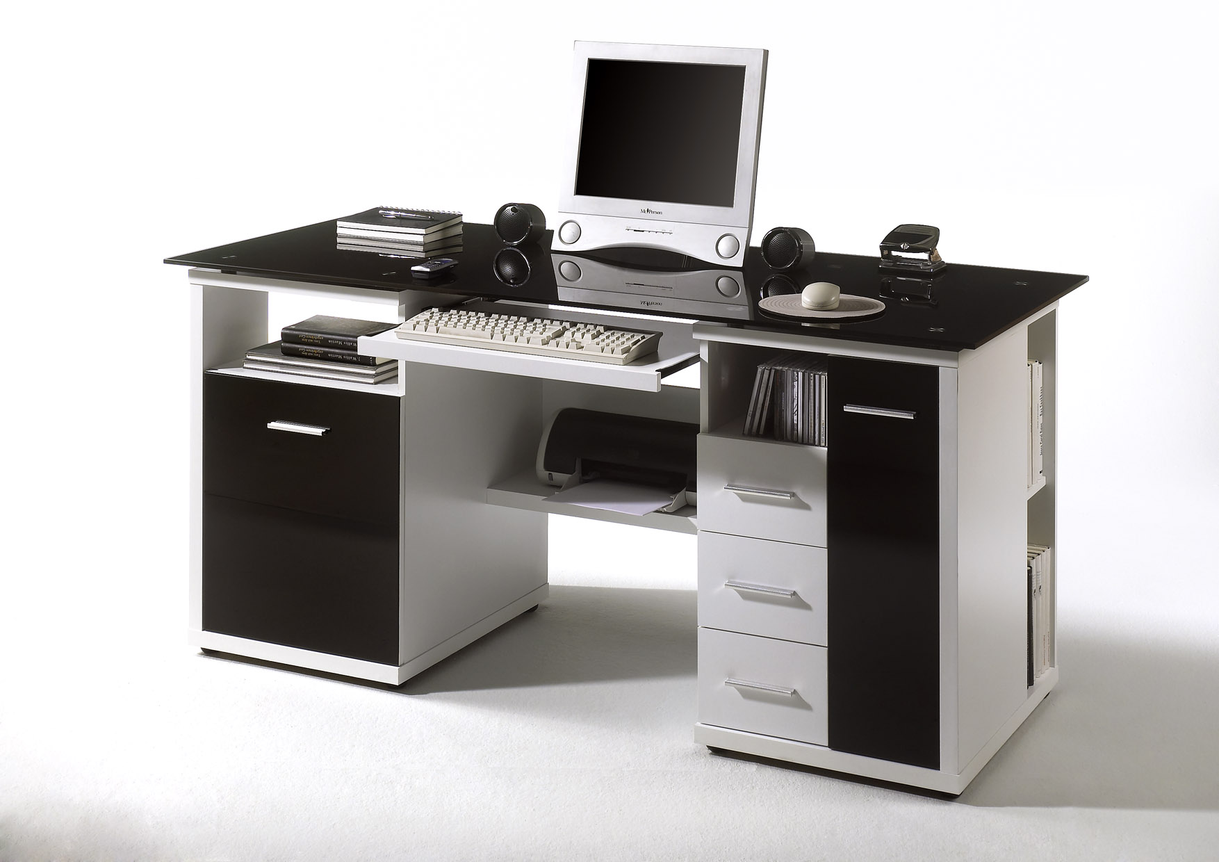 schreibtisch home office weiss glas schwarz ebay. Black Bedroom Furniture Sets. Home Design Ideas