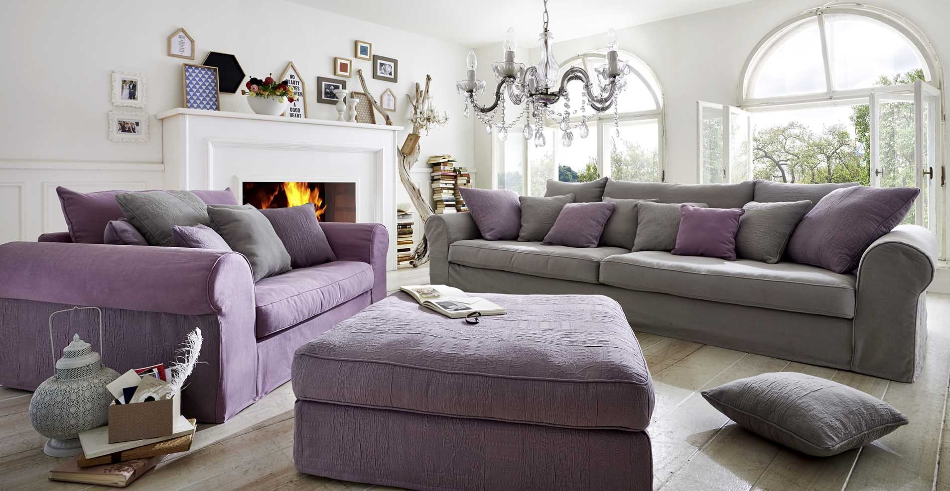 Primavera sofa klassiker mit husse for Sofa landhausstil